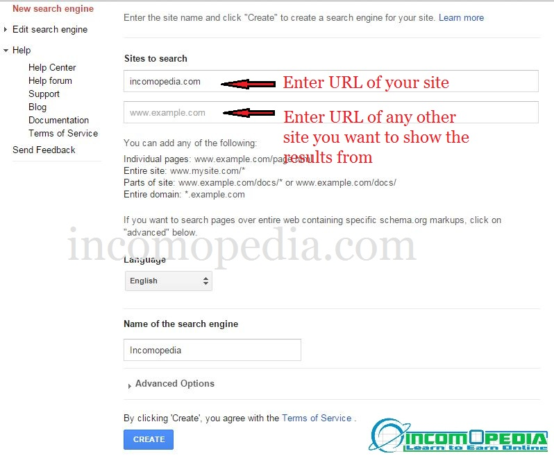 Creating google custom search engine